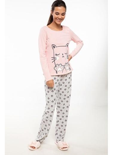 DeFacto Baskılı Pijama Takımı Gri